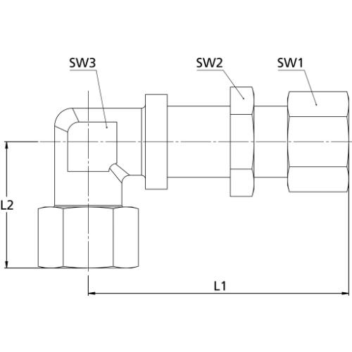 SW1 17 PN max SW3 19 Gerade Schottverschraubung SW2 19 Rohr-Au/ßen-/Ø 8 mm Stahl verzinkt 315 bar